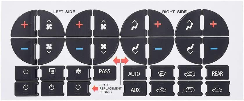 Aumo-mate AC Dash Button Replacement Decal Stickers for Select GM Vehicles - AC Control & Radio Button Sticker Repair Kit - Fix Ruined Faded A/C Controls