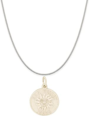 Box or Curb Chain Necklace Idaho Charm on a Sterling Silver 16 18 or 20 inch Rope Rembrandt Charms Two-Tone Sterling Silver Sun Valley