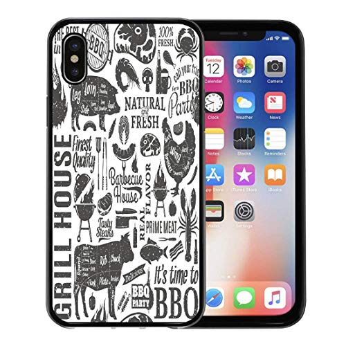Semtomn Phone Case for Apple iPhone Xs case,BBQ Retro Styled Typographic Barbecue Meat Pattern Beef Pork Grill for iPhone X Case,Rubber Border Protective Case,Black