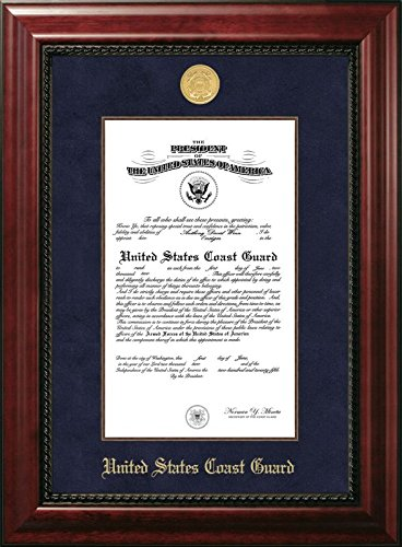 (Campus Images CGCEX001 Coast Guard Certificate Executive Frame with Gold Medallion with Mahogany Filet, 10
