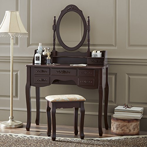 Fineboard Vanity Set with Stool & Mirror Makeup Table with 7 Organization Drawers Single Oval Mirror Make Up Vanity Table Set, Brown by Fineboard