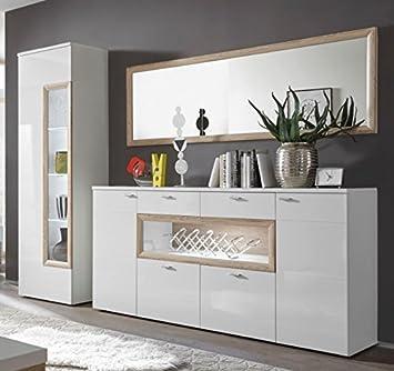 PRAG Wohnzimmer Set 8 Esszimmer Wohnkombination Weiß Hochglanz / San Remo