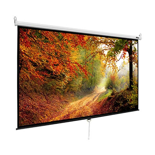 """MPLUS 100"""" Diagonal 16:9 HD Manual Pull Down Projector Screen with Auto Lock Mechanism Wall Mounted Ceiling Projection Screen Pull Down HD Movie Screen Home Theater"""
