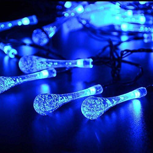 EONSMN Solar Droplet String Lights, 30 LED Raindrop Crystal Fairy Lights 2 Working Mode for Outdoor Garden Wedding Holiday Decoration Blue