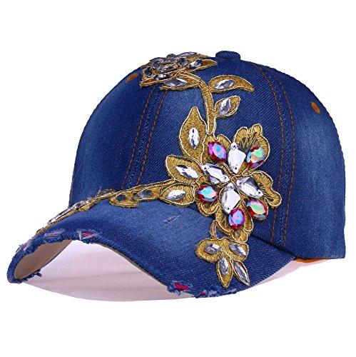 Deer Mum Lady Denim Studded Rhinestone Crystals Floral Design Baseball Cap ()