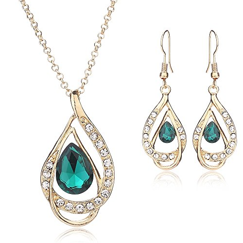 Women Fashion Gold Plated Jewelry Set Necklace Earring of Crystal Sapphire for Costume Show Wedding Party Dance Ceremony Accessories - Inexpensive Costumes