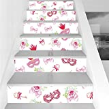 Stair Stickers Wall Stickers,6 PCS Self-adhesive,Masquerade,Masks and Vintage Keys Floral Bouquets Bows Pattern in Party Themed Design,Pink and Green,Stair Riser Decal for Living Room, Hall, Kids Room