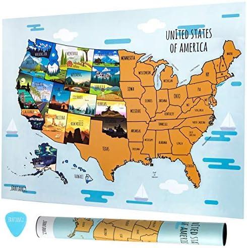 Fantango Scratch Off Mapa de los Estados Unidos – 50 estados 18 pulgadas x 24 pulgadas papel manualidades actividad Póster – Estados Unidos América del Norte con Capitoles, Scratching Pick – EE.