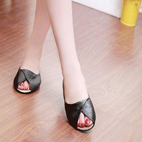Binmer (tm) Pantofole Estive Da Donna Scarpe Basse A Punta Aperta Sandali Romani Sandali Infradito Da Donna Scarpe Nere