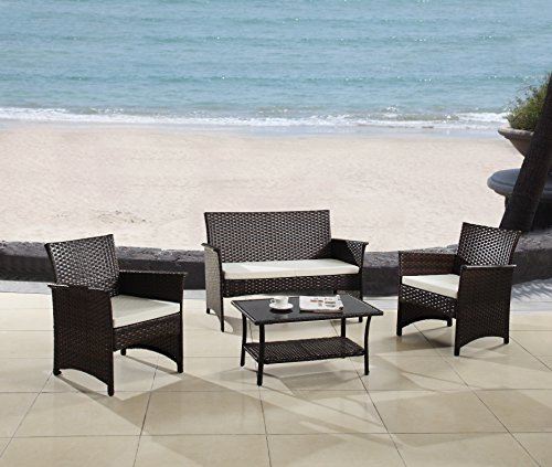Modern Outdoor Garden, Patio 4 Piece Seat - Gray, Espresso Wicker Sofa Furniture Set (Espresso) - Contemporary Patio Furniture