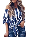 Womens Summer Sexy Off Shoulder Striped Short Sleeve T-Shirt Casual Knot Tie Chiffon Blouse Top (Dark Blue,S)