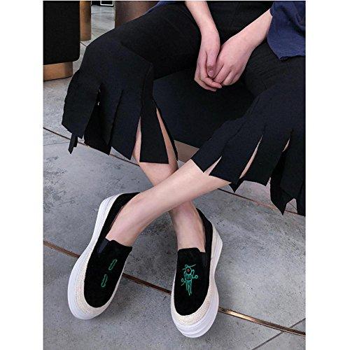 Plateformes Baskets Broderie A1104 KJJDE b à Simple WSXY Créative Creepers Série Femme black Chaussures wq85SRS