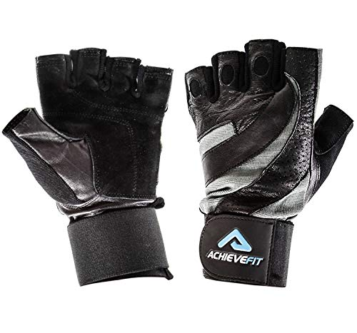 ACHIEVE FIT Weightlifting Gloves - Leather Palm for Fitness savvy Men & Women, Firm Control & Comfort for Weight lifting, Powerlifting, Crossfit Training, Gym Workout - Small, With Wrist Wraps (PAIR)