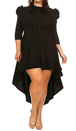 f816e581ae462 EOTMCP Women Plus Size Bow Tie Sleeve Cocktail Party High Low Dress at  Amazon Women s Clothing store