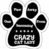 Imagine This Paw Car Magnet, 1 Paw Away From Being a Crazy Cat Lady, 5-1/2-Inch by 5-1/2-Inch, My Pet Supplies