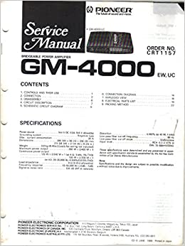 Terrific Pioneer Gm 4000 Bridgeable Power Amplifier Service Manual Parts Wiring Digital Resources Aeocykbiperorg