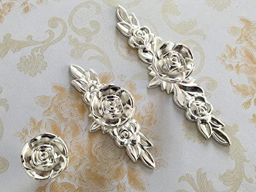 (Set of 1) - Polished Silver Rose Flower Drawer Knobs Dresser Pulls Cabinet Knob Back Plate - Knob W. Small Plate (Knob Flowers White Polished Brass)