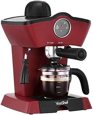 VonShef 4 Bar Espresso Cafetera Máquina - Garantía de 2 años gratis - Hacer espressos, Lattes, cappuccinos y más! (Producto con enchufe de UK)