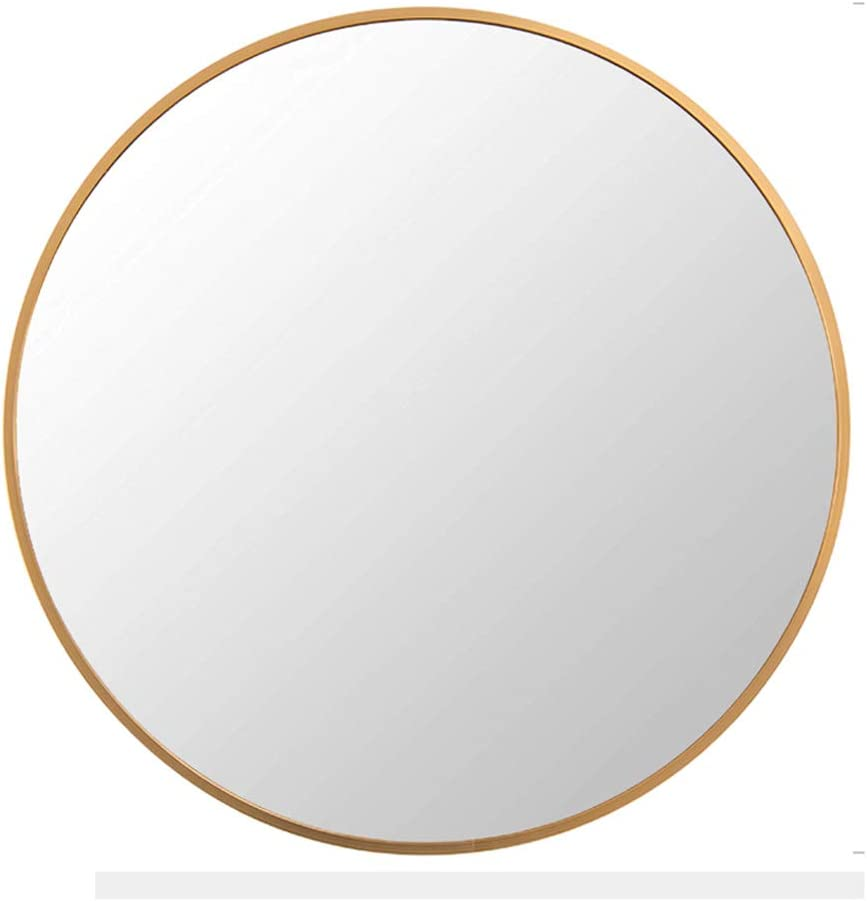 for Bathroom Home Mirrors Decor 20Inch Brushed Framed Round Mirror FANYUSHOW Modern Metal Wall Mirror Living Rooms Entryways Wall-Mounted Mirror