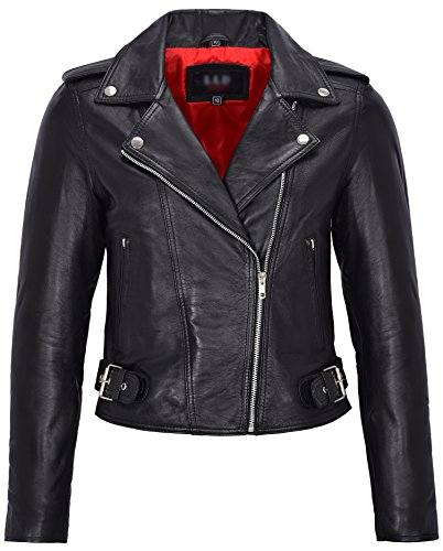 Señoras de cuero real Brando Biker estilo chaqueta ajustada de longitud corta negro con forro rojo