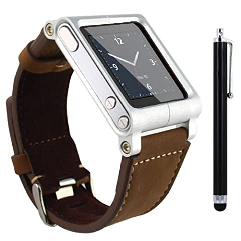 SQdeal Collection iPod Nano 6th Gen Wrist Strap Watch Band Case w/ Adjustable length Function, with Touch Pen (Brown leather (Ipod 6th Generation Strap)