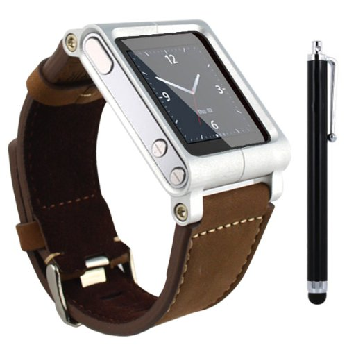 SQdeal Collection iPod Nano 6th Gen Wrist Strap Watch Band Case w/ Adjustable length Function, with Touch Pen (Brown leather bracelet) (Pod I Watch Band)