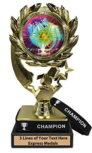 (Express Medals Science Fair Trophy with Removable Wearable Champion Wrist Band Marble Base and Personalized Engraved Plate)