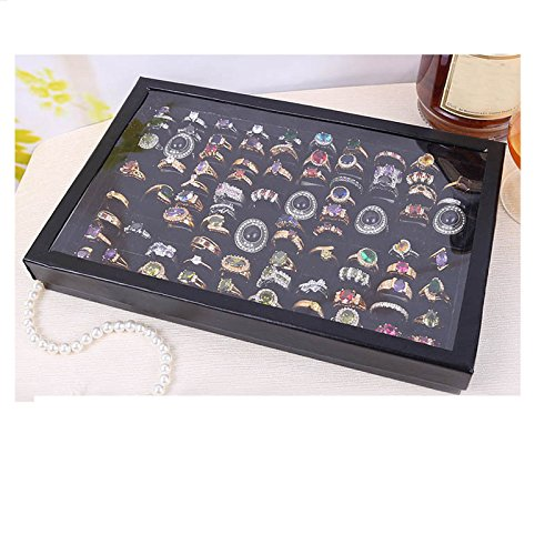 - Auwer Jewelry Rings Display Tray Velvet 100 Slot Case Box Jewelry Storage Box Suitable for Domestic Retail/Commercial Use (Black)