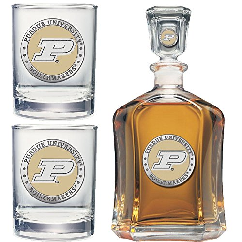 (Heritage Metalwork Purdue University Decanter and Whiskey Rock Glasses Set)