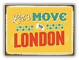 Let's Move To London Vintage Travel Label Art Decor Bumper Sticker 5'' x 4''