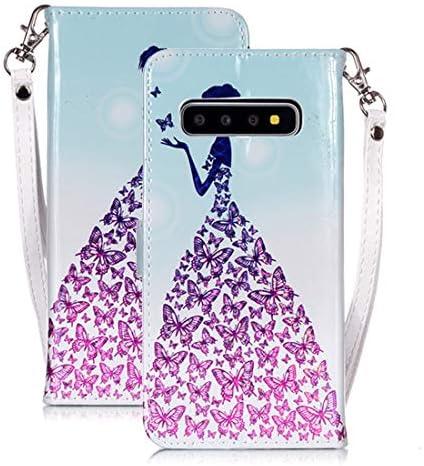 あなたの携帯電話を保護する Galaxy S10用のマジック3Dブライトカラードローイングパターン水平フリップPUレザーケース(
