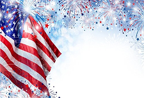 CSFOTO 6x4ft Background for American Flags with Fireworks Photography Backdrop USA Holiday United States Freedom Democracy Patriotic Independence Day Celebrations Photo Studio Props Wallpaper ()