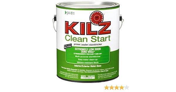 KILZ Clean Start Extremely Low Odor, Zero VOC Interior/Exterior Primer,  Sealer, Stainblocker, White, 1 Gallon   House Primers   Amazon.com
