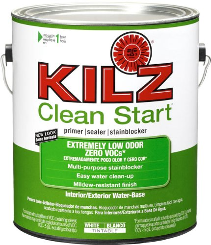 KILZ Clean Start Extremely Low Odor, Zero VOC  Interior/Exterior Primer, Sealer, Stainblocker, White, 1 gallon