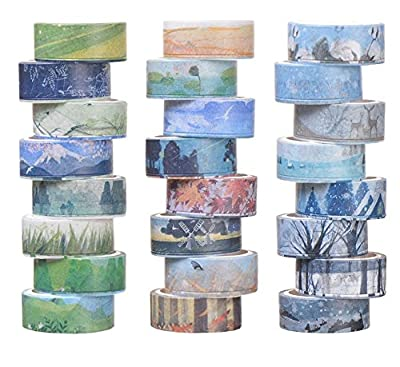 Washi Masking Tape Set of 24, Decorative Masking Tape Collection, Different Seasons Patterns for DIY Crafts,Gift Wrapping,Christmas Party Supplies from KOVANO