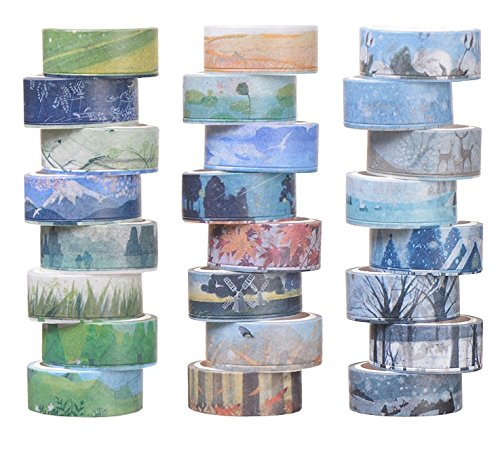 Set of 24, Decorative Masking Tape Collection, Different Seasons Patterns for DIY Crafts,Gift Wrapping,Christmas Party Supplies (Mix) -