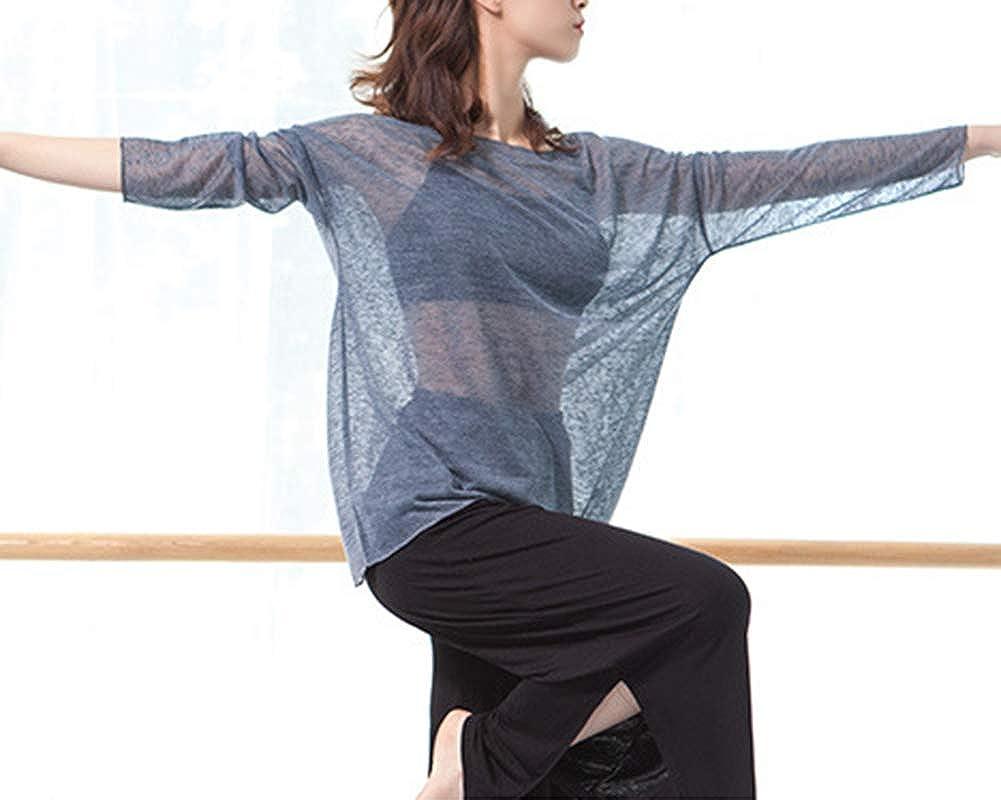 Femm Cover Up Sports Transparent T-Shirts Haut Danse Tops Chemises Beige Taille Unique