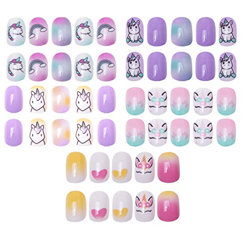120 pcs 5 pack Children Nails Press on Pre-glue Full Cover Glitter Gradient Color Short False Nail Kits Great Christmas Gift for Kids Little Girls - Unicorn Series