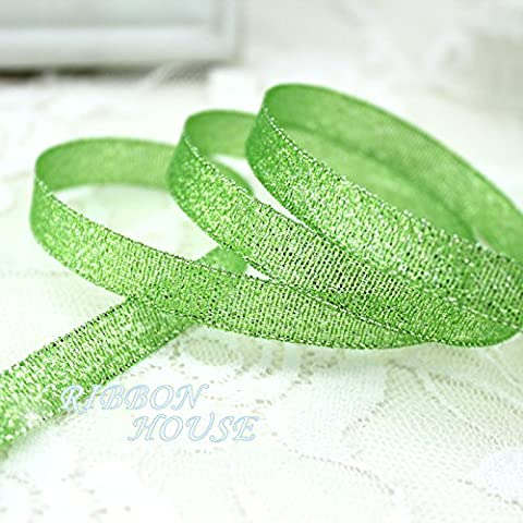 FunnyPicker (25 Yards/Roll) 3/8''(10Mm) Bright Green Metallic Glitter Ribbon Colorful Gift Package Ribbons Wholesale