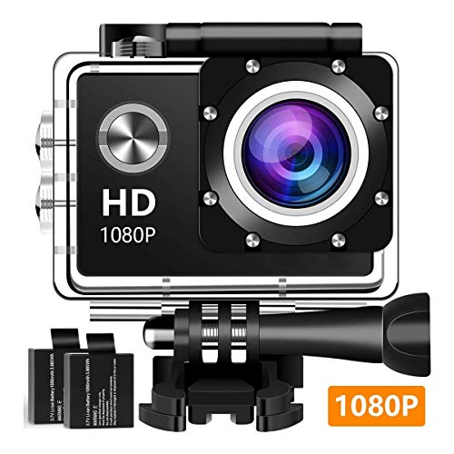 Action Camera Sport Camera 1080P Full HD Waterproof Underwater Camera with 140° Wide-Angle Lens 12MP 2 Rechargeable Batteries and Mounting Accessories Kit