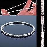 NeDonald Stretchable Elastic Full RhinAnklet Ankle Foot Jewelry Barefoot Bracelet Bangle 1 Layer