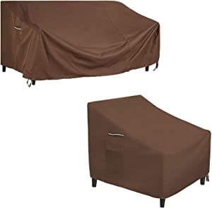 SONGMICS Sofa Cover and Set of 2 Chair Covers Bundle, for Outdoor Deep Seat Sofa and Patio Chairs, Waterproof and Anti-Fade, Brown UGSC260R01 and UGCC006R01