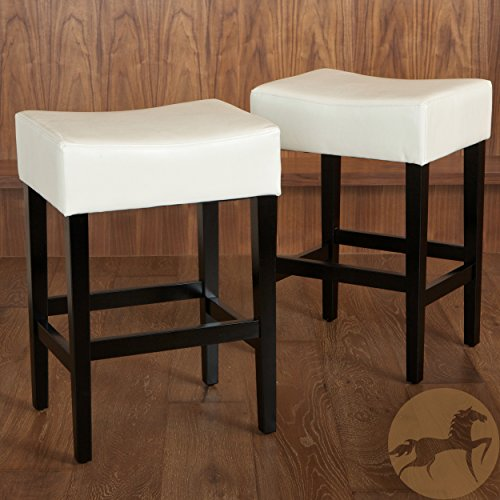 Christopher Knight Home 237525 Duff Backless Ivory Leather Counter Stools Set of 2 ,