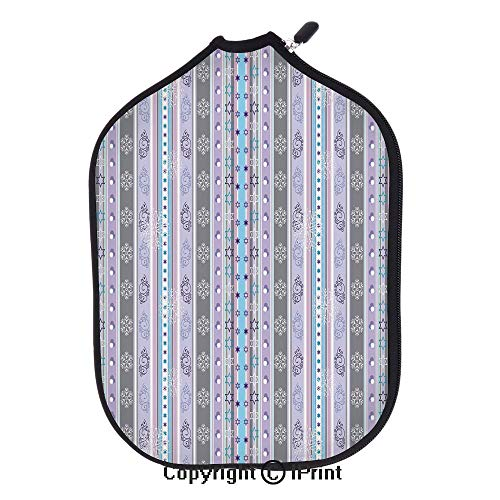 """3D Pickleball Paddle Racket Cover Case with Diving Material,Season Theme Violet Light Blue White Borders Geometrical Swirls Art Print(Size:8.23"""" x 11.4"""") Multicolor,Fit for Most Pickleaball Paddles"""