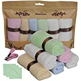 Monclaire® 6pcs 10x10 Inchs 100% Organic Bamboo Luxury Bamboo Baby Washcloths Ultra Soft Premium Reusable Pefect For Baby bath have Sensitive Skin bibs Dish Kitchen bathroom Towels+Gift(Nail clipper)