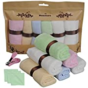 Monclaire 10x10-Inch Organic Reusable Bamboo Baby Towels (Set of 6) with Nail clipper
