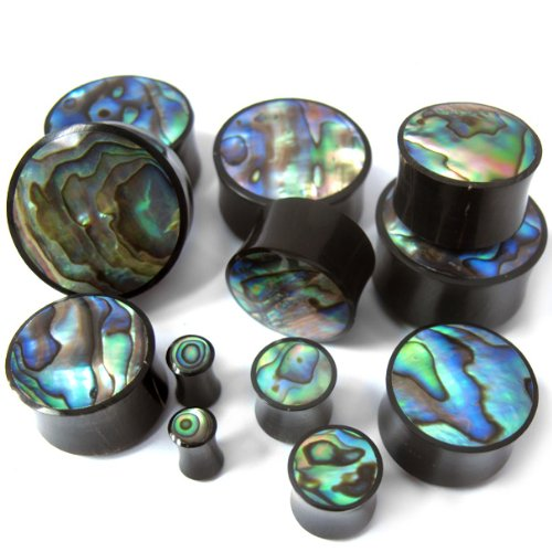 Pair of 6 Gauge Horn Plugs With Abalone Shell Inlay (6G - 4mm) - Double Flare - Abalone Inlay Shell Plug