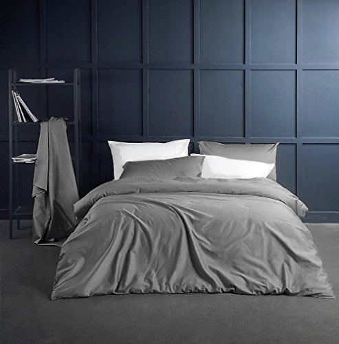 Solid Color Egyptian Cotton Duvet Cover Luxury Bedding Set High Thread Count Long Staple Sateen Weave Silky Soft Breathable Pima Quality Bed Linen (King, Neutral Grey) - Neutral Set