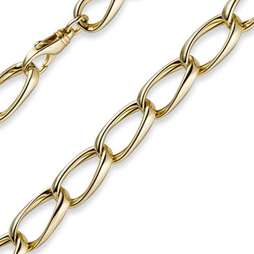 11mm Bracelet Bracelet Chaîne loin Collier gourmette en or véritable 585or jaune 19cm Bracelet en or