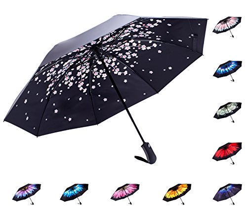 Fidus Inverted Reverse Sun&Rain Car Umbrella Large Windproof Travel UV Umbrella For Women Men - Auto Open Close(Pink Peach) by Fidus